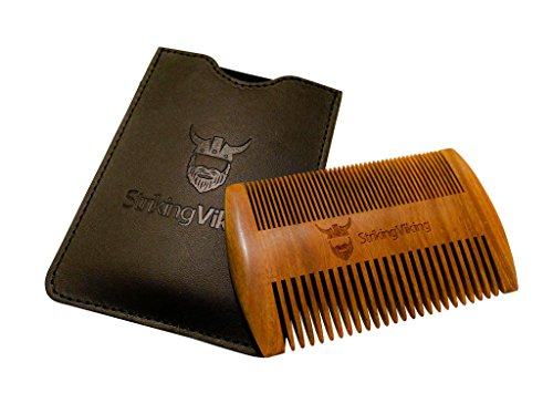 Wooden Beard Comb & Case – Fine & Coarse Teeth from Striking Viking – Anti-Static and Hypoallergenic Wood Pocket Comb For Beards & Mustaches