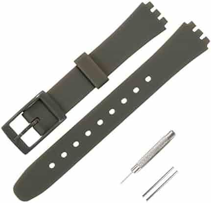 KHZBS Silicone Children's Watch Strap Replacement for Swatch case Diameter 25mm Swiss Quartz Watch Band(12mm)