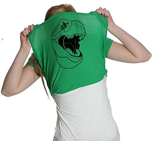 Womens Ask Me About My Trex T-Shirt Funny Cool Dinosaur Trex Flip Shirt Novelty Tees (Green) - L