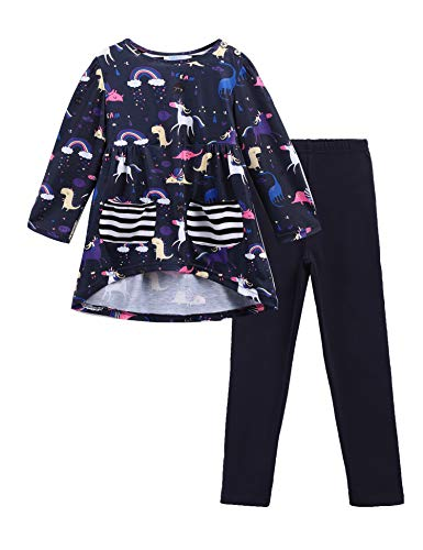 Arshiner Little Girls Unicorn Clothing Sets Long Sleeve Boutique Birthday Outfits 2 PCS Tops Pants
