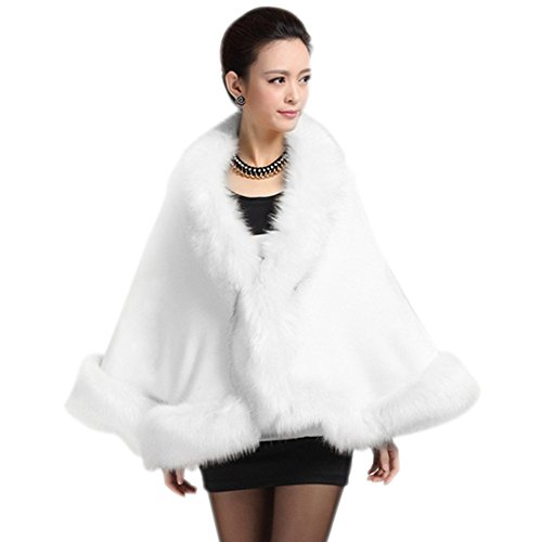 Roniky Women Luxury Bridal Faux Fur Shawl Wraps Cloak Coat Sweater Cape (White)