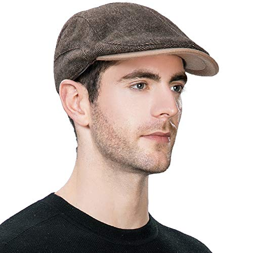 Winter Wool Newsboy Cap with Earflap Mens Fitted Ear Flaps Trapper Hat Ivy Flat Cap Driver Cap Cotton Lined Unisex SIGGI