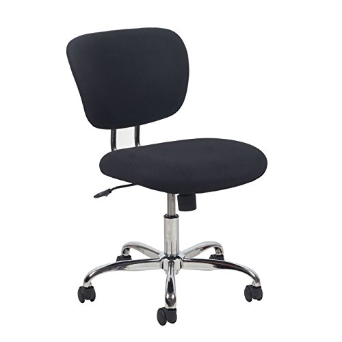 Essentials ESS-3090 Swivel Upholstered Armless Task Chair - Ergonomic Computer/Office Chair, Black/Chrome by OFM