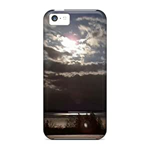 New Premium Flip Case Cover Moon On The Bay Skin Case For Iphone 5c