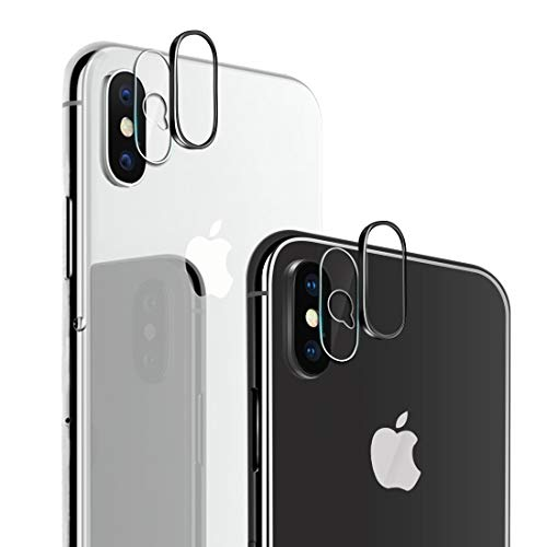iPhone X Camera Lens Protector, [2 Pack] Ultra-Thin HD 9H Hardness Bubble-Free Anti-Scratch Camera Tempered Glass Screen Protector Film with 2pcs Camera Lens Rings for iPhone X 5.8