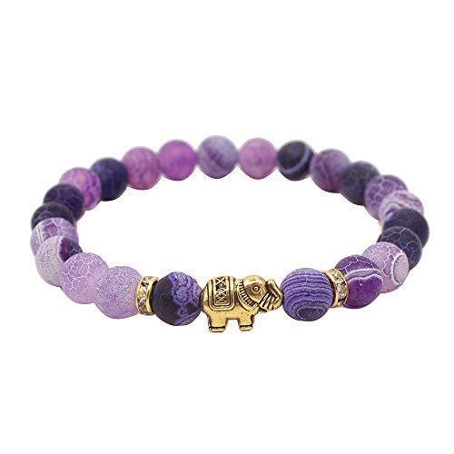 KSQS Lover Couple Bracelet Yoga Balancing Reiki Healing with Elephant for Christmas Thanksgiving (Elephant Purple)