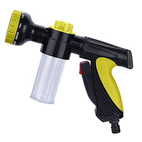 Uervoton Garden Hose Nozzle Soap Dispenser, Heavy Duty Water Nozzle 10 Adjustable Watering Patterns, Slip Shock Resistant Watering Plants, Cleaning, Car Wash Showering Pets