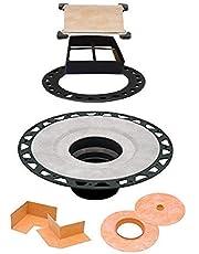 "Schluter KERDI-Drain - ABS Flange - Drain Kit - 2"" Drain Outlet - 4"" Square Grate - Tileable Covering Support, Model: KD2/ABS/ECS"