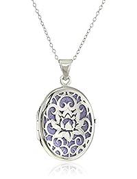 "Italian Sterling Silver Lotus Flower Locket Necklace, 18"""