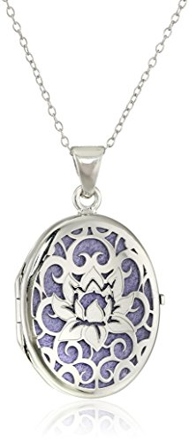 Italian Sterling Silver and Purple Lotus Flower Locket Necklace, 18