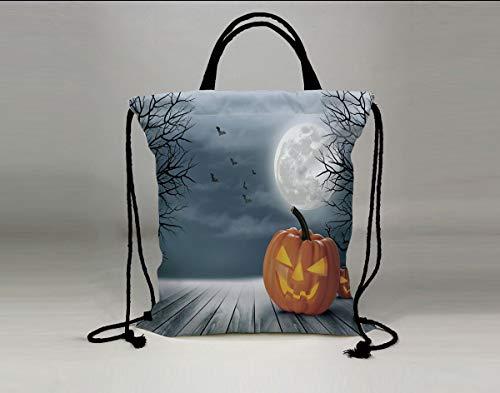 3D Print Drawstring Bag String Backpack,Halloween,Cold Foggy Night