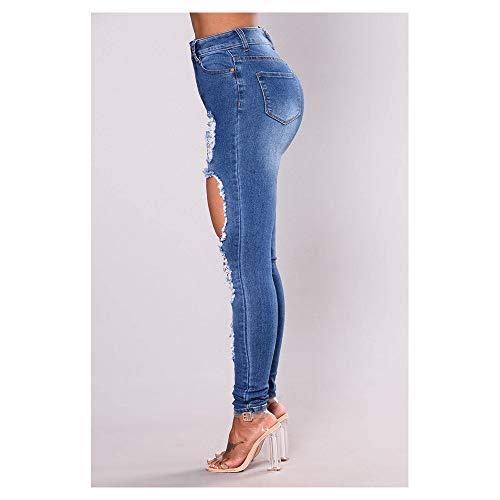 Blue femme Jeans stretch stretch Blue coton L Color Size en sexy v6wq6F7d