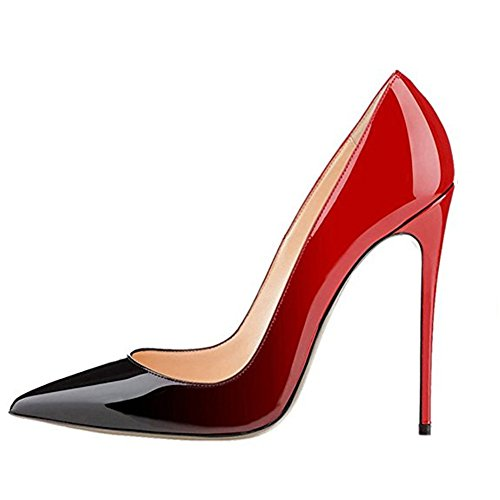 MIUINCY for Party High Stiletto Dress Patent Closed Pumps Red Leather black Shoes Toe Heels Wedding Pointed Women Ywr4vX7r