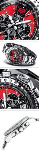 FIREFOX Racer FFS15-105 Carbon schwarz/rot Herrenuhr Armbanduhr Chronograph massiv Edelstahl Sicherheitsfaltschließe 10 ATM Prüfdruck