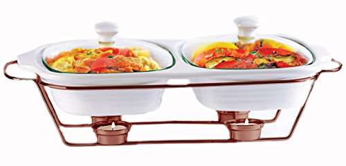 Palais Dinnerware Buffet Double Covered Ceramic Casserole Dish with Warming Rack (2 Dishes - 1 Quart Each, Copper) 2 Quart Chafing Dish
