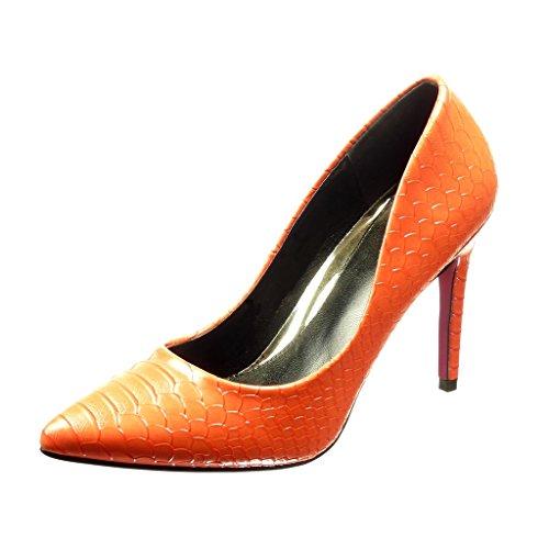 Angkorly Damen Schuhe Pumpe - Stiletto - Sexy - Schlangenhaut Stiletto High Heel 11 cm Rot
