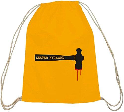 Shirtstreet24, Lester Hammer, Baumwoll natur Turnbeutel Rucksack Sport Beutel gelb natur