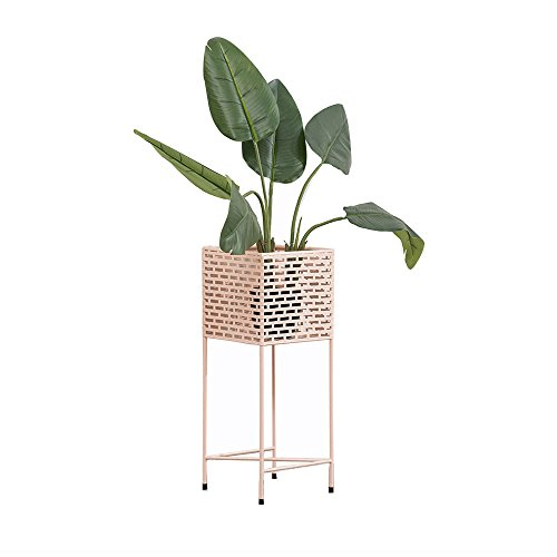 Edge Fine Trendy (Nordic Flower Shelf Square Stereo Hollow Creative Model Room Modern Minimalist Living Room Floor Wrought Iron Flower Balcony Green Radish Pot (Color : Pink))