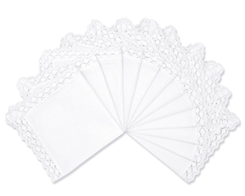 Milesky Solid White Wedding Cotton Handkerchiefs with Lace Edges Square 10 x 10