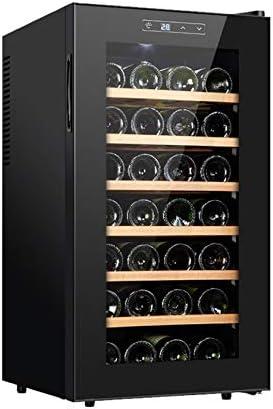BLLXMX Vinoteca 28 Botellas, Zonas De Temperatura Pantalla Táctil De 11-18 °, Refrigerador De Vino Negro 75L Bajo Consumo