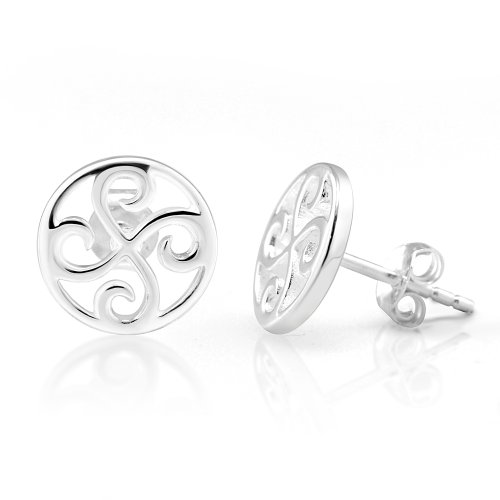 Sterling Silver Celtic Spiral Earrings (925 Sterling Silver Cut Open Tiny Round Celtic Quadruple Four Spirals 10 mm Post Stud)
