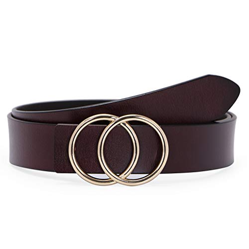 Designer Day Dresses - Western Designer Belts for Women Fashion Leather Belts for Jeans Dress Pants Brown with Gold Double O-Ring Buckle