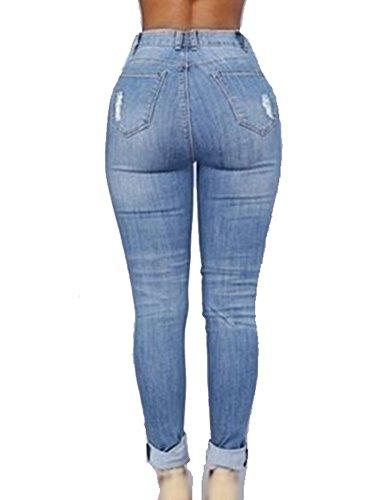 Rotos Soft Azul Vaqueros Mujer Pantalon Lavado Lápiz Rasgados Pantalones Up Push vXpEqw