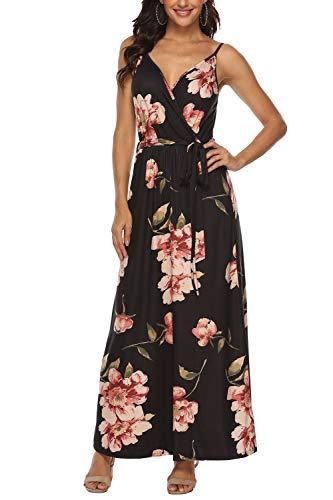Zattcas Floral Maxi Dress Womens V Neck Spaghetti Strap Summer Beach Long Dress,Black,Small
