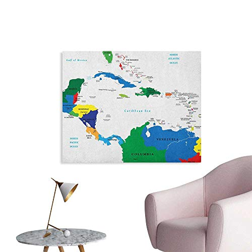 Anzhutwelve Map Wall Sticker Decals Central America and The Caribbean Islands Map Countries Cities Names Regions Locations Space Poster Multicolor W32 xL24]()