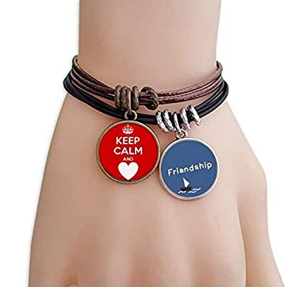 YMNW Quote Keep Calm And Love Red Friendship Bracelet Leather Rope Wristband Couple Set Estimated Price -