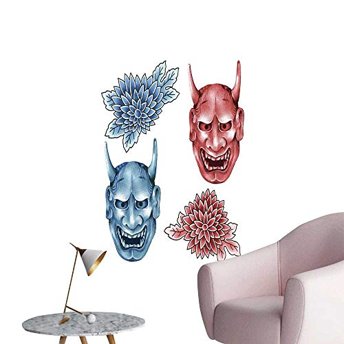 (Alexandear Kabuki Mask Decoration Wall Stickers Different Colored Masks of Japanese Demoness Ornate Flowers Art Art Mural Decals Blue Red White W8 x)