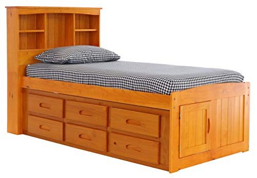Discovery World Furniture Bookcase Captains Bed with 6 Drawer Storage, Twin, Honey