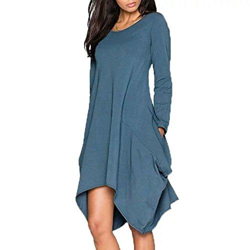 Irregular Long Sleeve Blue 1 Hem Casual BetterGirl Pockets Womens Loose Dress TM OqnZp0