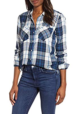 Lucky Brand Women's Button Up Plaid Shirt