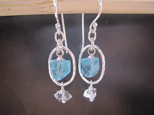 (Raw Blue Apatite Earrings,Herkimer Diamond Earrings, 925 Sterling Silver earrings,Natural crystal, lightweight)