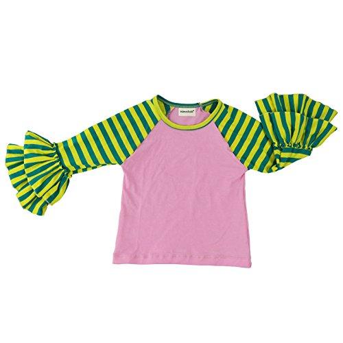 Wennikids Little Girls' Long-Sleeve Ruffle T-Shirt XX-Large Green Pink