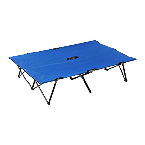 """Outsunny 76"""" Two Person Double Wide Folding Camping Cot - Blue"""