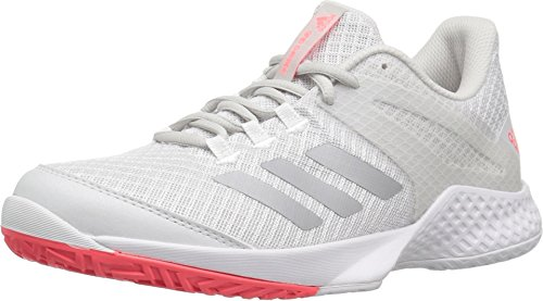 adidas Women's Adizero Club 2 Tennis Shoe, White/Matte Silver/Grey, 6 M US