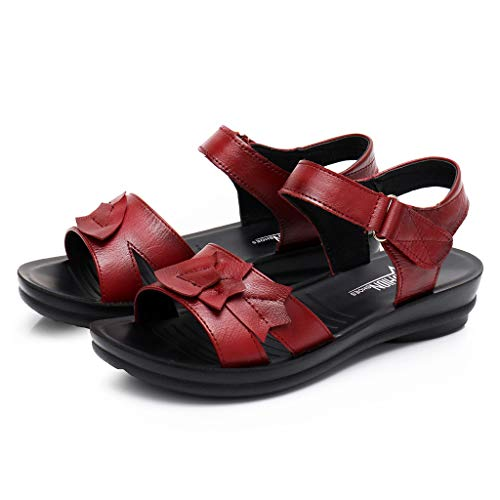 - Aunimeifly Women's Faux Leather Sandals Mother Convenient Flat Soft Daily Shoes Sewing Footwear Wine