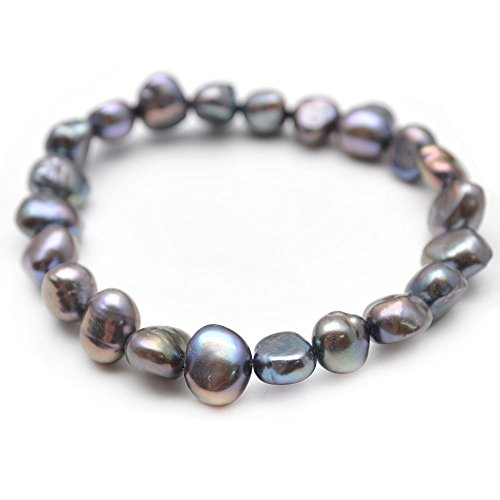 Oval Freshwater Cultured Pearl Bracelet (Flourishbeads Cultured Fresh Water Pearl Flat Oval Beads Stretch Bracelet Fashion (Black Gray))