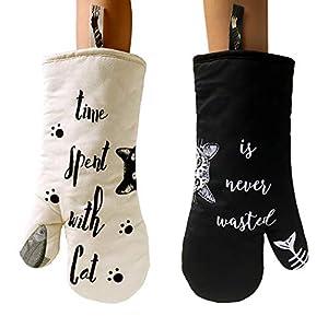 AIYUE 1 paio di guanti da forno per gatti da cucina e da forno, resistenti al calore fino a 250 °C, 100% cotone… 7 spesavip