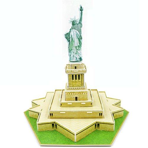 Queenie USA Statue of Liberty Sculpture 3D Paper Models DIY Jigsaw Puzzles Educational Toys for 6+ Kids Develop 3D Space Concept Landmark Puzzle Kits, 28 ()