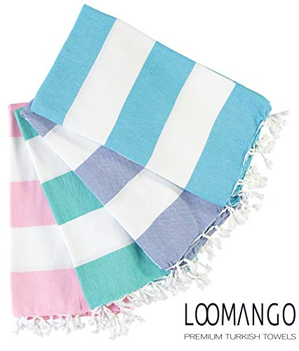LOOMANGO (Set of 4) Cabana Collection Ultra Soft Premium Quality 100% Cotton 70