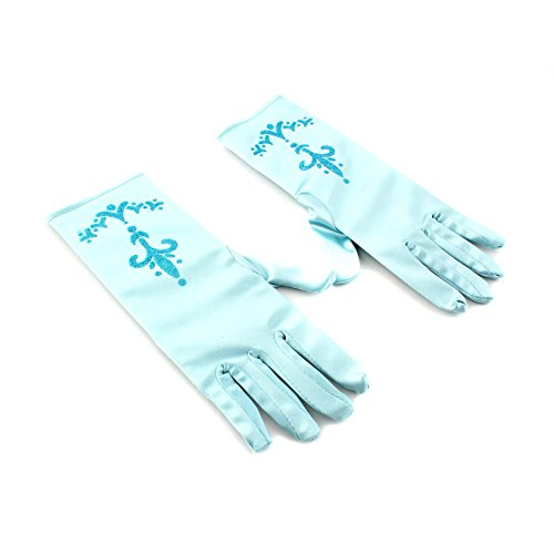 IDS Home 1 Pair Girls Princess Queen Gloves Cosplay Halloween Party Costume, Light Blue