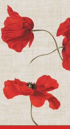 Caspari - Disposable Folded Bathroom Hand Towel, Dancing Poppies Paper Guest Towels, Ivory, Pack of 15