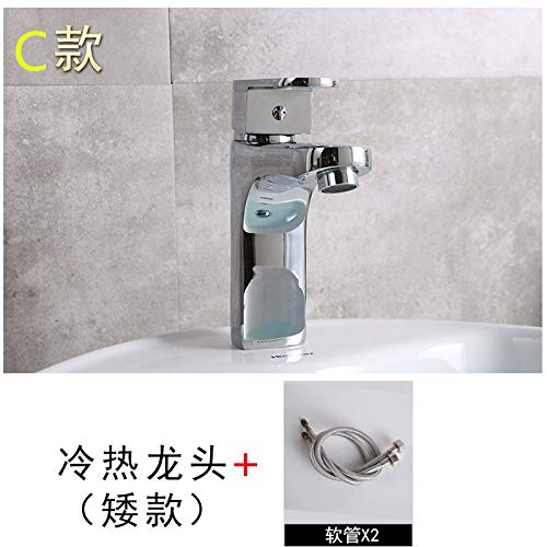 A 5 PajCzh Sink Bathroom Sink Taps All Copper Basin Faucet Bathroom Single Hole Faucet Hot And Cold Bathroom Basin Wash Basin Sink Faucet, A, 6