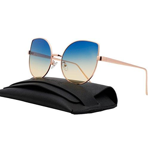 VIVIENFANG Mirrored Flat Lenses Oversized Cat Eye Sunglasses Women shades 86931D Ocean - Ombre Shades