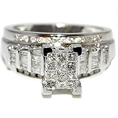 Midwest Jewellery Princess Cut Diamond Wedding Ring 3 in 1 Engagement & Bands White Gold .9ctw (J/k, I2/i3,7/8cttw)