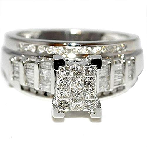 - Midwest Jewellery Princess Cut Diamond Wedding Ring 3 in 1 Engagement & Bands White Gold .9ctÂ