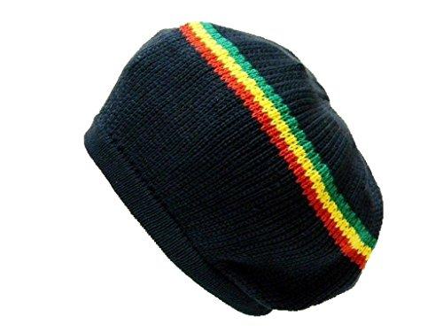 (Black w/Red-Yellow-Green Stripes Rasta Dread Tam Cap Hat Crown Beret M/L)